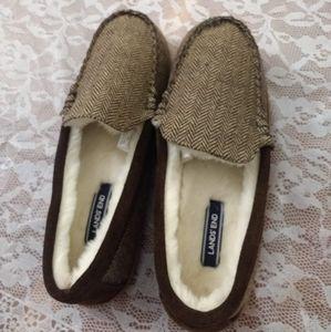 Lands' End Men's Mocassin Slippers, New